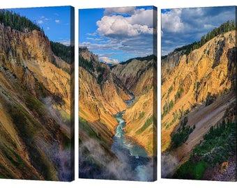 Grand Canyon of Yellowstone Canyon View Triptych Set From Yellowstone National Park, Modern Wall Art, Yellowstone Landscape Photography