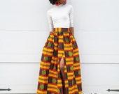 Orange with Red/Black Kente Ankara Maxi Skirt / Slit or No Slit (XS - 6XL) Plus Size