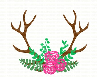 Antler floral swag svg silhouette cameo cricut design space cut file clip art floral Deer Antlers Hunting SVG Cutting File