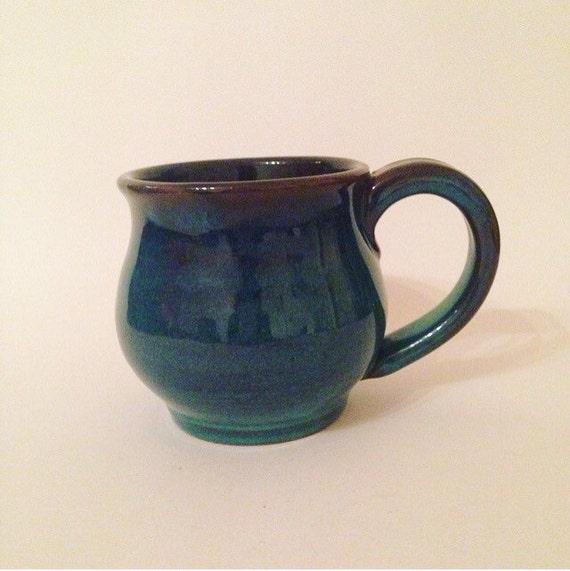 Handmade Ceramic Mug Unique Pottery Gift Blue Glaze Big Mug