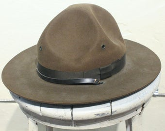 Vintage Military Hat with Strap