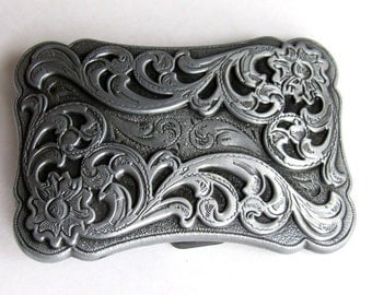 "Vintage Old West Scroll Design Western Belt Buckle For 1 1/2"" Width Belt 3"" By 2"""