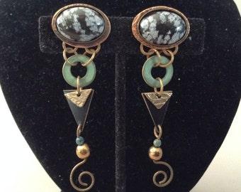 Boho Mixed Metal Snowflake Jasper Pierced Earrings