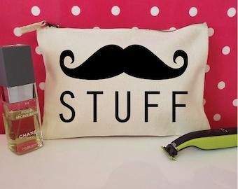 Moustache Stuff Toiletry Bag For Men. Moustache Gift. Moustache Accessory Bag. Gifts For Dad. Gifts For Him. Mustache Movember Gift.