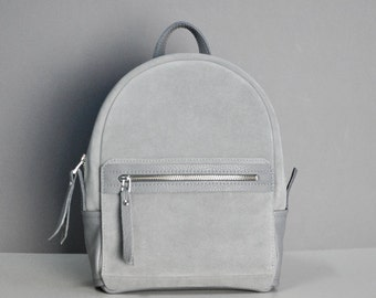 Gray suede leather backpack - Sport