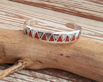 "Native American Sterling silver cuff bracelet coral mother of pearl inlay cuff SIGNED Gene C*  5 7/8"" bracelet OL2342"