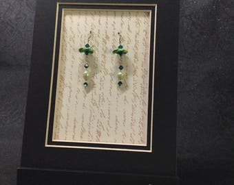 Green Mizuhiki Earrings