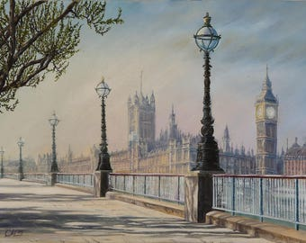 Large canvas print London skyline wall art print for office decor Fine art print of painting London print mens gift for doctor Brother gift
