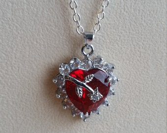 Red Heart Necklace, Crystal Heart Necklace, Zicon Heart, Zircon Necklace, Red Heart, Zircon Pendant, Red Jewellery, Love Pendant, Red