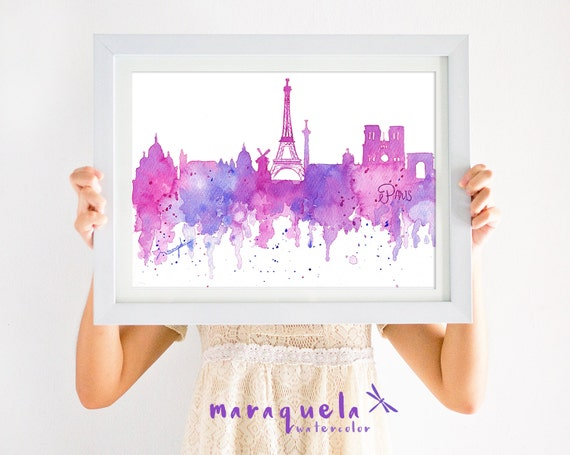 ORIGNAL PARIS Skyline HANDMADE Blue and pink hues,original watercolor, skyliner France painted hand made, gift Parigi decoration modern art