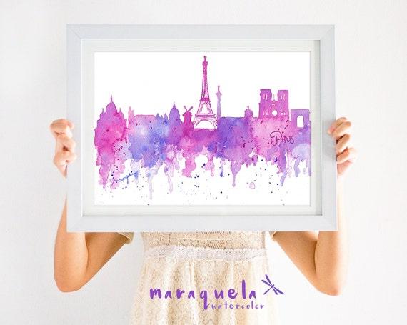 ORIGNAL PARIS Skyline HANDMADE Blue and pink hues,original watercolor, skyliner France painted hand made, gift Parigi decoration modern art