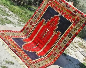 Antique Cr1900-1939s Tribal Dowry Wool Pile Carpet -5'4''x9'6'' Folk-Art Turkey