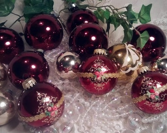 Cranberry Vintage Mercury Glass Christmas Ornaments – Collection of 15