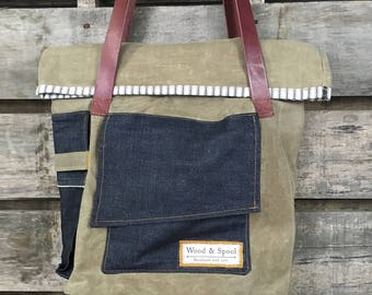 Fold over Tote Bag, Roll top Tote Bag, Waxed Canvas Tote Bag, Oilskin Tote, Waxed Canvas Shoulder Bag, Waxed Canvas purse, Tote Bag, tote