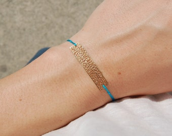 Hateya bracelet - Silk threads and metallic lace
