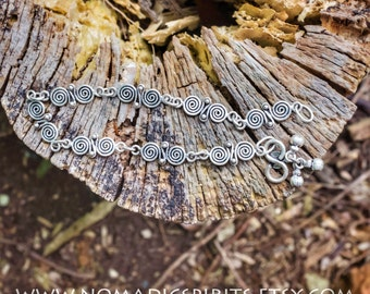 Sterling silver anklet with little balls and Spiral of Life pattern