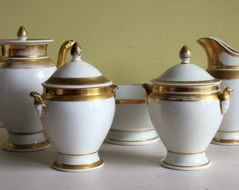 Old Paris' French Gold Gilded Coffee Service, Empire period, 1800-1820, lidded sugar bowls, large bowl, coffee pot, large milk jug, antique