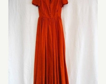 On Sale Vintage 1950's Rust Taffeta Formal Dinner Dress