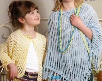 "King Cole Knitting Pattern 3347~Lacy Poncho & Cardigan~DK~22-30"""