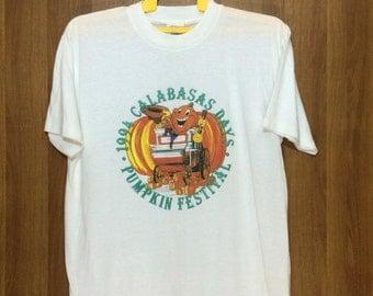 90s Deadstock unworn Vintage 1994 Calabasas Days Pumpkin Festival Tshirt Adult Large Size
