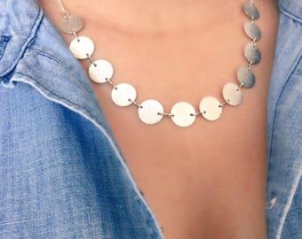Satin Sparkly Silver Coin Necklace