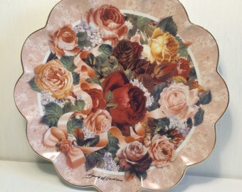 Victorian Rose Bouquet - Limited Edition Franklin Mint Collectors Plate - Pink Flowers - English Dresser Plate