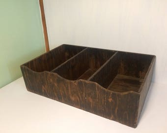 Vintage Wooden Divided Box - Storage Tray - Plant Box - Desk Tidy - Organiser