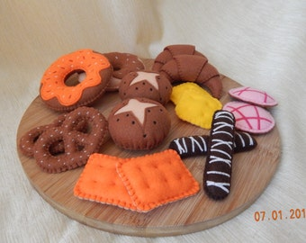 Embroidered bakery set. (+Gift). Felt bakery set. Felt pastry. Felt confectionery. Pretend bakery. Pretend play food.