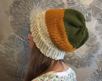 Knit slouchy beanie knit hat chunky slouchy hat chunky knit wool hat winter beanie PACKARD BEANIE