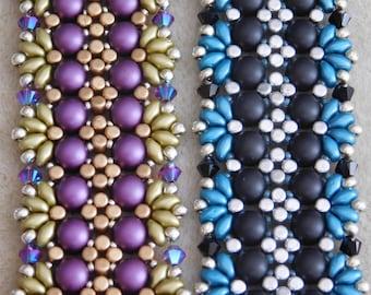 Beading Bracelet Tutorial, Silke Bracelet Tutorial, Beaded Pattern, 2 Hole Cabochon, Minos Beads, Superduo, Swarovski Bicone, Beadweaving