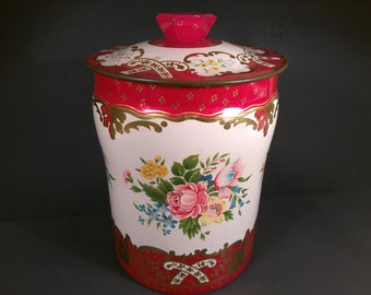 Vintage Tin Canister, Red Floral Tin, Floral Tin, Tin Canister, English Tin, Storage Container, Made In England,  #8