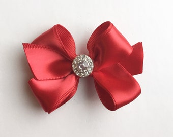 Medium Double Red Satin Bow with Crystal Bling