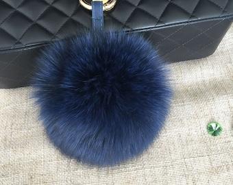 Navy Fox Fur Bag Charm Luxury Fluffy Puffs Ball Keychains Women Genuine Fur Pompoms Purse Charm Handbag Charm Cute Soft Real Furry 5 inch