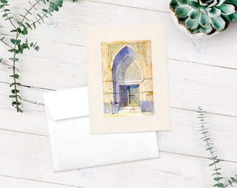 Arabian Watercolour Mounted Print Hofuf Middle Eastern Province Old Wooden Arabesque Arched Door Decor Birthday Celebration Occasion Gift