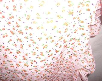 Peach Flowered Bib Apron with Ruffles