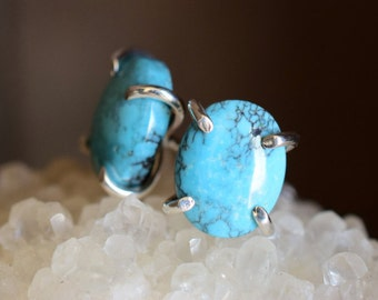 Turquoise Studs. Sterling Silver December Birthstone Claw Earrings. Minimal Everyday Gemstone Studs. December Birthday. Raw Turquoise