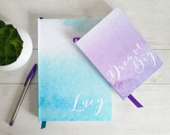Large hand made personalised notebook/journals, in my watercolour wash designs, 7 shades, personalised with any text, name or initials