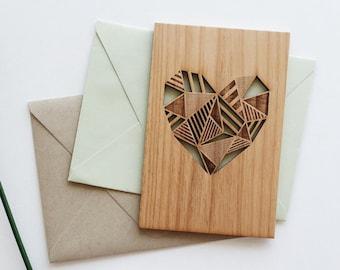 Geometric Heart Wood Love Card [5th, Fifth, Five Year Anniversary / Valentine / Girlfriend or Boyfriend / Personalized Anniversary]