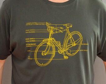Bike Diagram T Shirt, Bike T Shirt, mens t shirt, mens tshirts, cycling print, gifts for cyclists, bicycle t shirts, gift for boyfriend