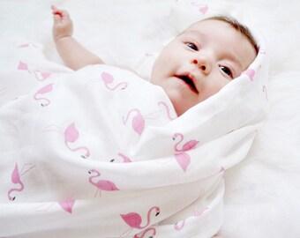 Doudou Lange mousseline bio flamant rose bébé, coton bio et bambou mousseline Lange, Lange doudou