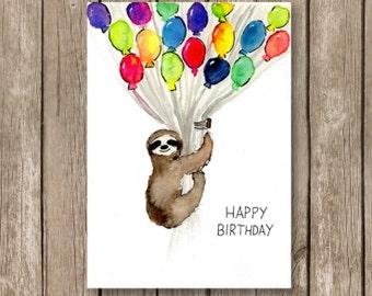 zum Ausdrucken Geburtstagskarte, Faultier mit Ballons, Aquarell auf Papier