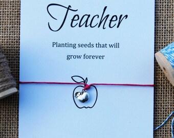Teacher Gift ~ Apple Charm Wishing Bracelet Cotton Waxed Cord Inspirational Gift ~ Wish Bracelet ~ Gift for Teacher Card Inspirational Card