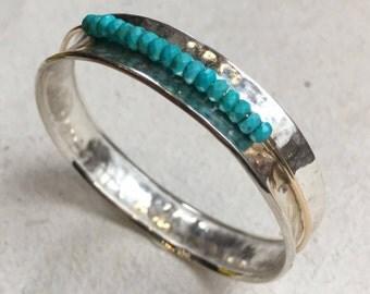Spinner Bangle, Sterling Silver Bangle, Turquoise Bangle, Spinning Bangle, Two tones bangle, beaded bracelet, bohemian - Full circle B3017