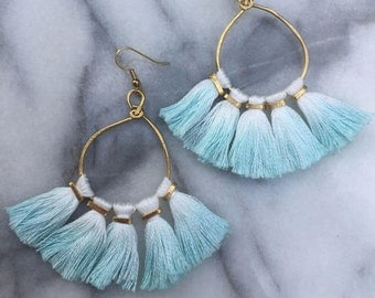 Dip Dyed Tassel Earrings, Hammered Metal Tassel Earrings, Boho Earrings
