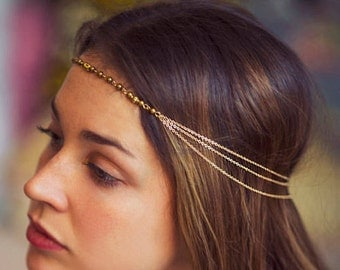 Bohemian gipsy greek 24K gold plated hair jewelry - multi strand of gold plated stainless steel chains headpiece - festival style hair chain
