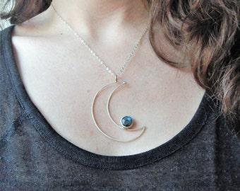 Sterling Silber Halbmond und Labradorit Anhänger - Mond Phase Halskette - Lunar Schmuck - Mond und Sterne Anhänger - Mond Anhänger Halskette