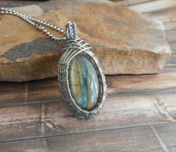Yellow Labradorite Stainless Steel Wire Wrapped Pendant with Stainless Steel Ball chain necklace