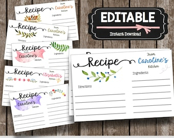 50% OFF SALE - Recipe Cards - EDITABLE - Instant Download - Personalize - Watercolor - Floral - Bridal Shower - Recipe Gifts - Printable