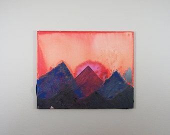 Psychedelic Mountainscape/ Mixed Media Painting // Purple and Blue Mountains // Home Decor // Sunset Painting // Watercolor Painting