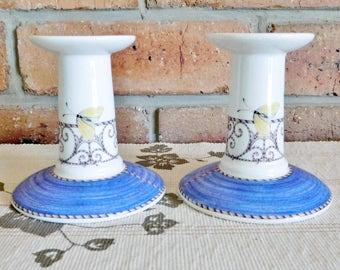 Wedgwood 'Sarah's Garden' Queens Ware 1997 porcelain bone china candleholders, candlesticks, butterfly motif, engagement, wedding gift
